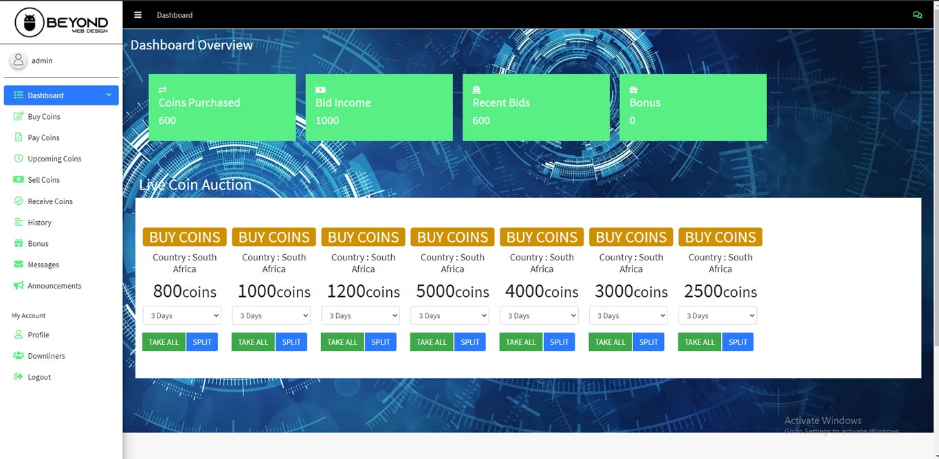 Cryptocurrency Coin Auction Web Development