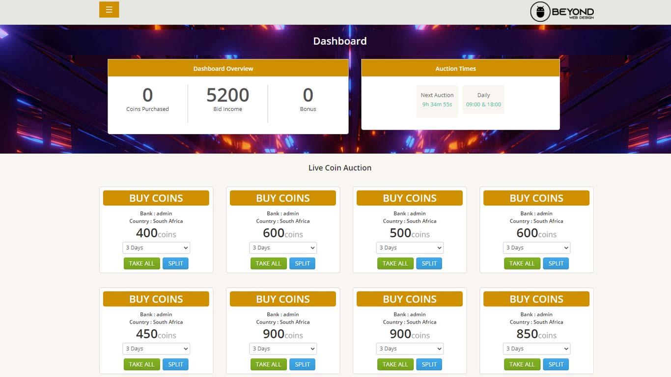 Peer to Peer Coin Auction Web Development